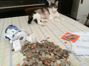 Boris empties his bank to help pay for his vet care